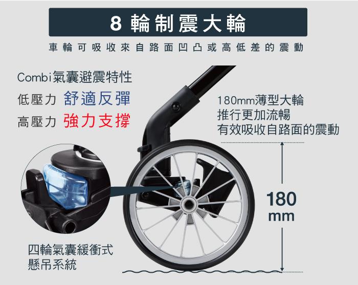 8輪制震大輪;四輪氣囊緩衝式懸吊系統